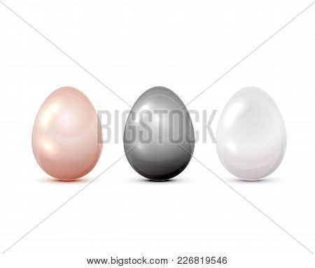Set Of Three Colored Easter Eggs Isolated On White Background, Illustration.