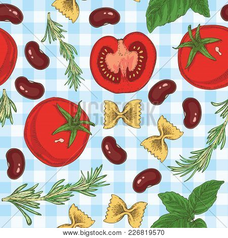 Seamless Vector Pasta, Beans, Herbs And Tomatoes Seamless Pattern On A Light Blue Plaid Background