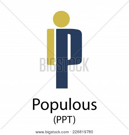 Colorful Populous Cryptocurrency Symbol Isolated On White Background
