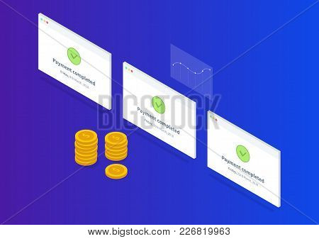 Payment Successful Isometric Illustration With Gold Coins And Chart On The Blue Gradient Background