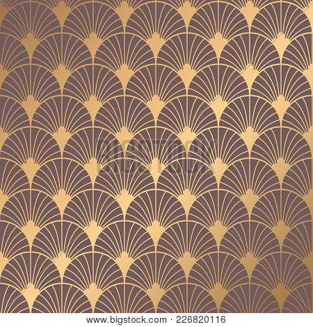 Art Deco Pattern. Seamless Golden Background. Minimalistic Geometric Design. Vector Line Design. 192