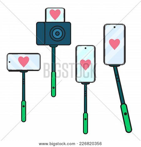 Set Selfie Stick Icon With Heart. Vector Illustration Isolated. Concept Sign A Blogger Broadcast In