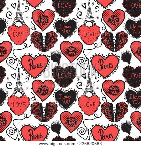 Lower Lingerie And The Eiffel Tower. Hand Drawing Love In Paris. Seamless Pattern Red Isolated On Wh