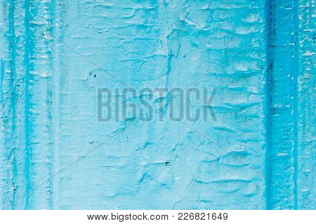 Old Wooden Painted Light Blue Rustic Background With Peeling Paint. Painted Chipped And Texture Of T