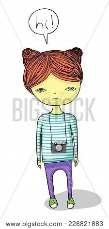 Cute Red-haired Cartoon Girl With Camera Saying Hi.