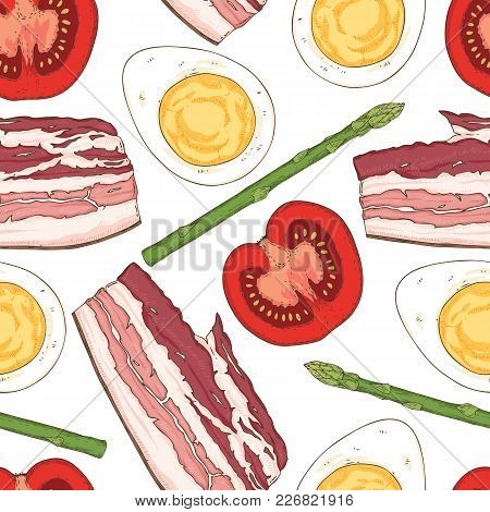 Breakfast Seamless Pattern With Halves Of Boiled Eggs, Bacon, Tomatoes And Asparagus On A White Back