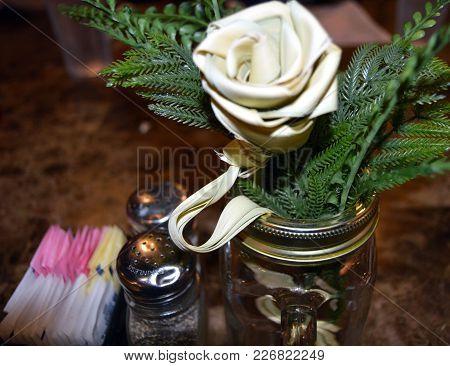 Restaurant Table Sweet Grass Flower Centerpiece Salt Sugar