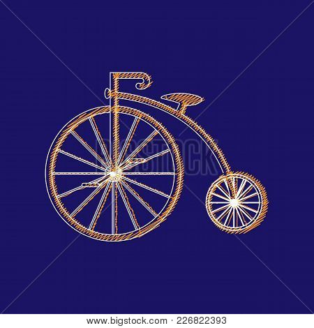 Penny-farthing Icon White Isolated On  Background. Antique Old Bicycle With Big Wheels. Vector Illus