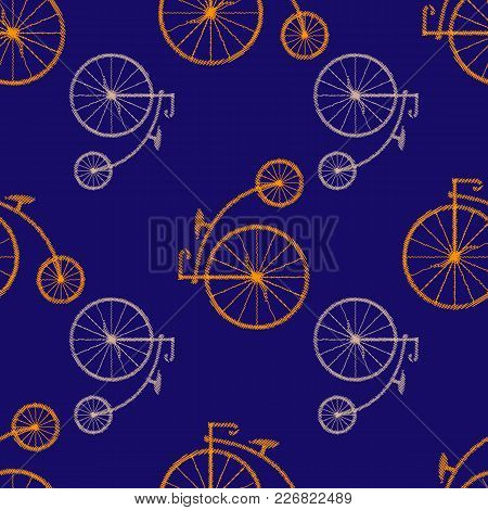 Penny-farthing Icon  Isolated On  Background. Antique Old Bicycle With Big Wheels. Vector Illustrati