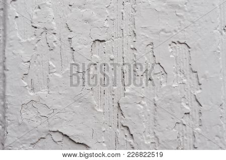 Old Wooden Painted Light Gray Rustic Background With Peeling Paint. Painted Chipped And Texture Of T