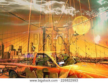 Surreal digital art. Yellow cab on the Brooklyn bridge. Graffiti elements. Full moon in the sky. 3D rendering