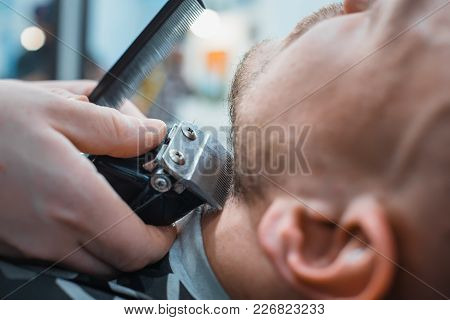 Barber Leveled His Beard To The Client Machine For Shaving. The Client Gets The Perfect Shape Of You