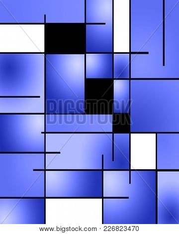 Abstract pattern in Mondrian style. 3D rendering