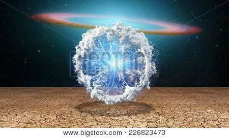 Surrealism. Splash of clouds and lightnings. Galaxy disk on a background. 3D rendering