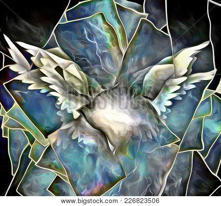 Surrealism. Angel's wings. Words. 3D rendering