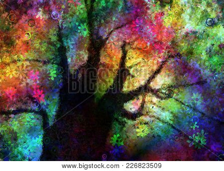 Colorful Textured Abstract Tree. 3D rendering