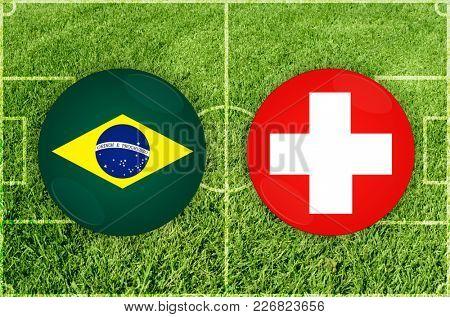 Illustration for Football match Brazil vs Switzerland