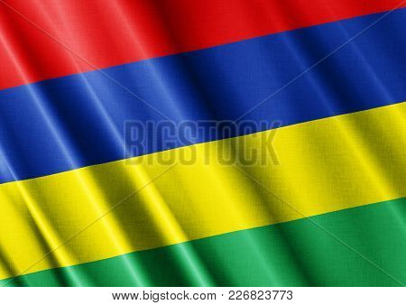 Mauritius Textured Proud Country Waving Flag Close