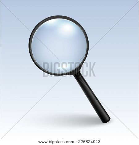 Photo-realistic Vector 3d Black Magnifying Glass Or Loup Icon Closeup On Table, Side View With Shado