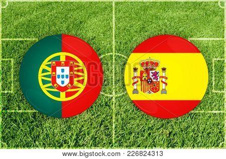 Illustration for Football match Portugal vs Spain