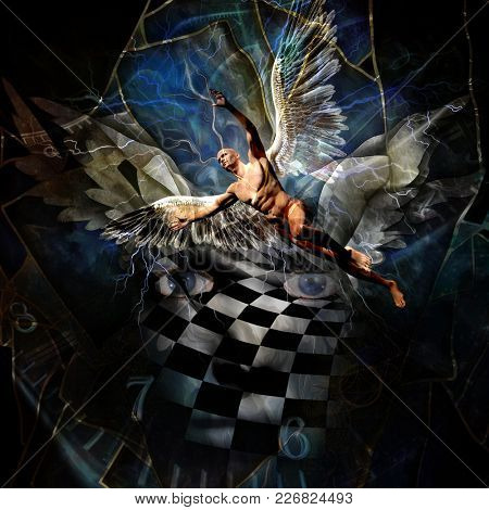 Surrealism. Eyes, face with chessboard pattern. Spiral of time. Naked man with wings represents angel. 3D rendering