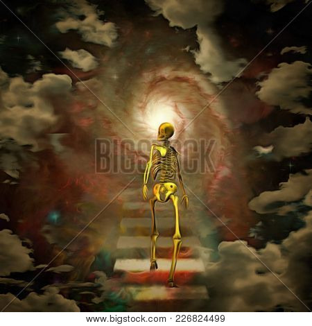Surreal painting. Skeleton walks to the bright light. Clouds on a background. 3D rendering
