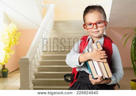 Girl Little School Schoolgirl Books Background Person