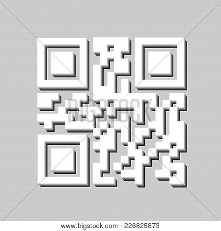 3d Qr Code For Scanning , Barcode Icon Isolated. Modern Simple 3d Bar Code Sign. Marketing, Internet