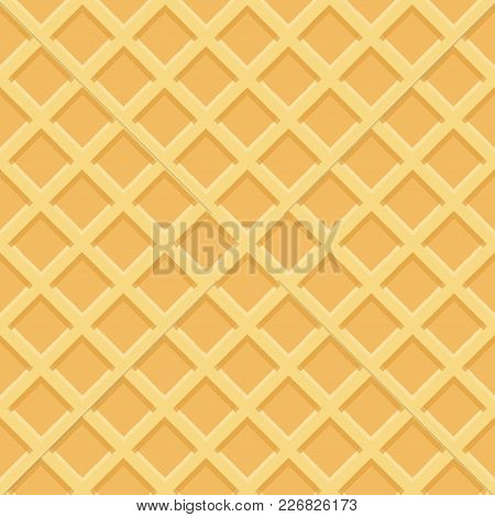 Waffle Seamless Pattern, Waffle Or Ice Cream Cone. Vector Illustration