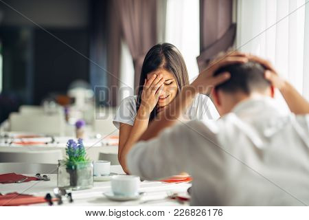 Crying Stressed Woman Arguing With A Man About Problems.reaction To Negative Event,handling Bad News