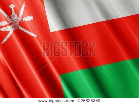 Oman Textured Proud Country Waving Flag Close