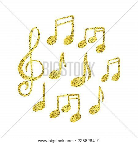 Vector Set Of Hand Drawn Golden Glitter Music Notes. Cartoon Music Note Icon.