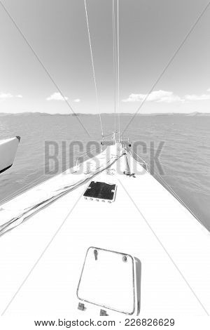 Concept Of Sport And  Relax    In The  Catamaran  Deck