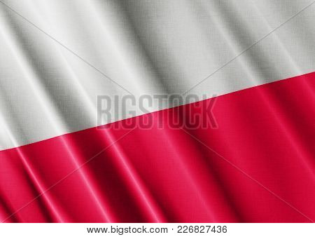 Poland Textured Proud Country Waving Flag Close