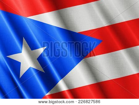 Puerto Rico Textured Proud Country Waving Flag Close