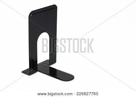 Metallic Glossy Black Book End Isolated White