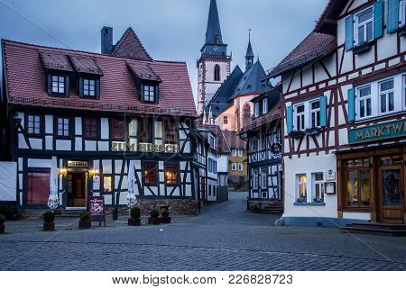 Oberursel, Germany - February 10 2018: Cityview Of Old Historic Town Of Oberursel Germany.
