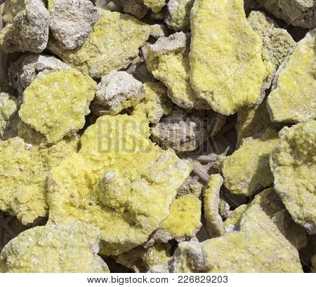 Close Up Of Raw Yellow Sulfur Stones In Indonesia