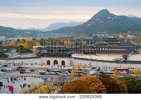 Gyeongbokgung Palace In Autumn In Seoul, South Korea.