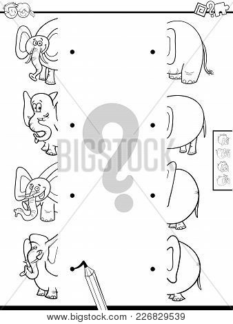 Match Halves Of Elephants Game Coloring Book