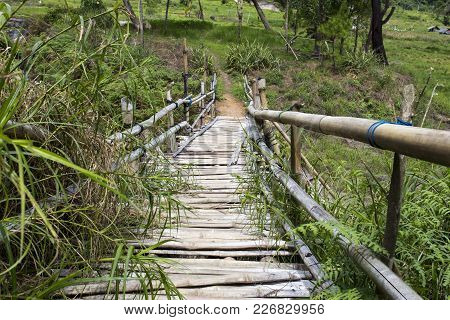 Walking On A Dangerous Bridge In Sulawesi, Indonesia