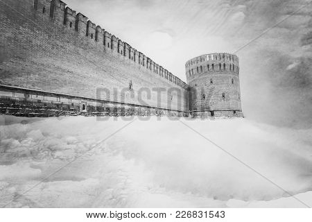 The Dark Gray Fortress Wall In The Winter.