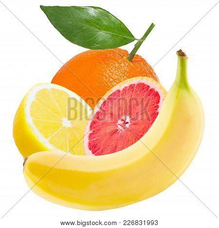 Isolated Various Fruits. Fresh Fruits ( Banana, Orange, Lemon, Grapefruit) Isolated On White Backgro