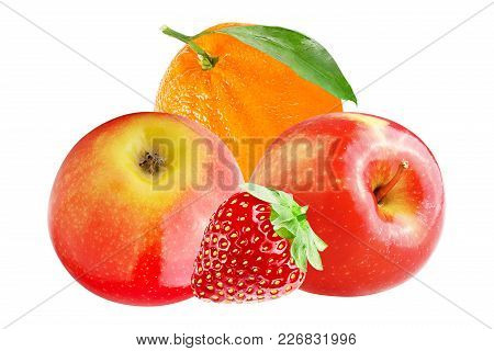 Isolated Various Fruits. Fresh Apple With Orange And Strawberry Isolated On White Background With Cl