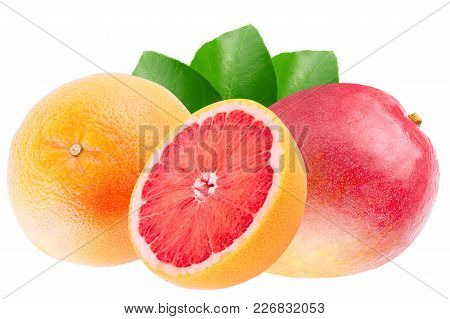 Isolated Various Fruits. Mango And Grapefruit Isolated On White Background With Clipping Path As Pac