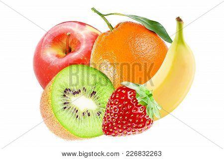 Isolated Various Fruits. Whole Fresh Fruits ( Banana, Orange, Apple, Kiwi And Strawberry)  Isolated
