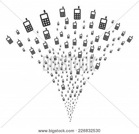 Cell Phone Burst Fountain. Vector Illustration Style Is Flat Iconic Symbols. Object Fountain Combine