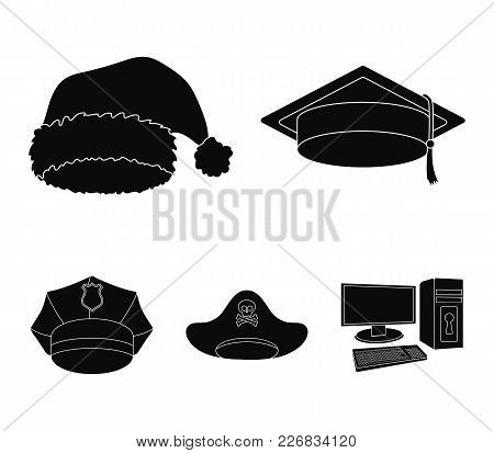 Graduate, Santa, Police, Pirate. Hats Set Collection Icons In Black Style Vector Symbol Stock Illust