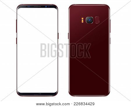 New Burgundy - Red Smartphone. Front View And Black View. Isolated On A Transparancy Background. To