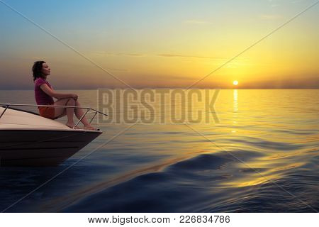Woman sits on the bow of the boat at sunset, collage
